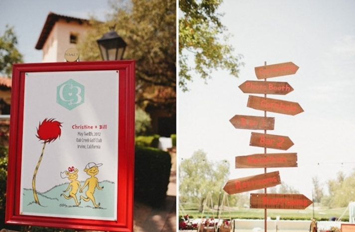 whimsical dr seuss themed wedding reception welcome signs