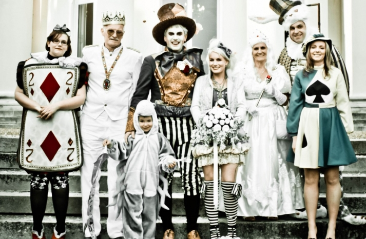 Funky Alice in Wonderland themed wedding party