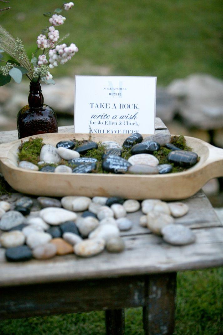 Unique wedding escort cards stones