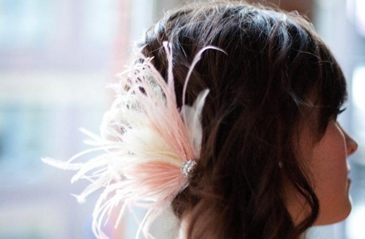 blush and ivory feather wedding fascinator
