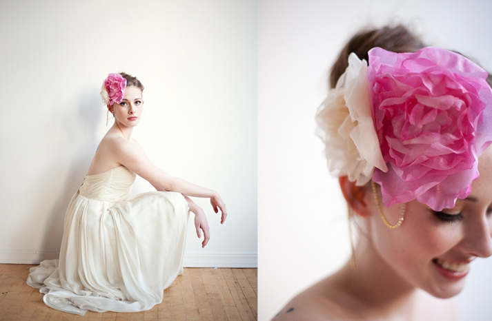 Pink and ivory wedding hair flowers
