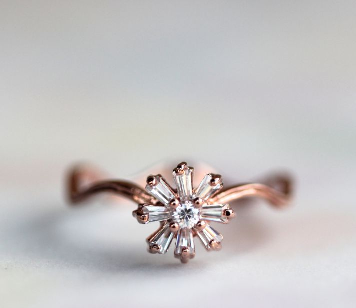 rose gold with diamonds vintage wedding ring