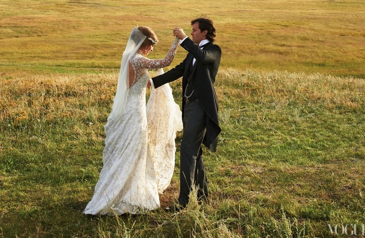 Lauren Bush rustic wedding dances with her groom