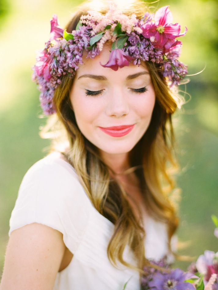 Spring Bohemian bridesmaid with purple floral crown