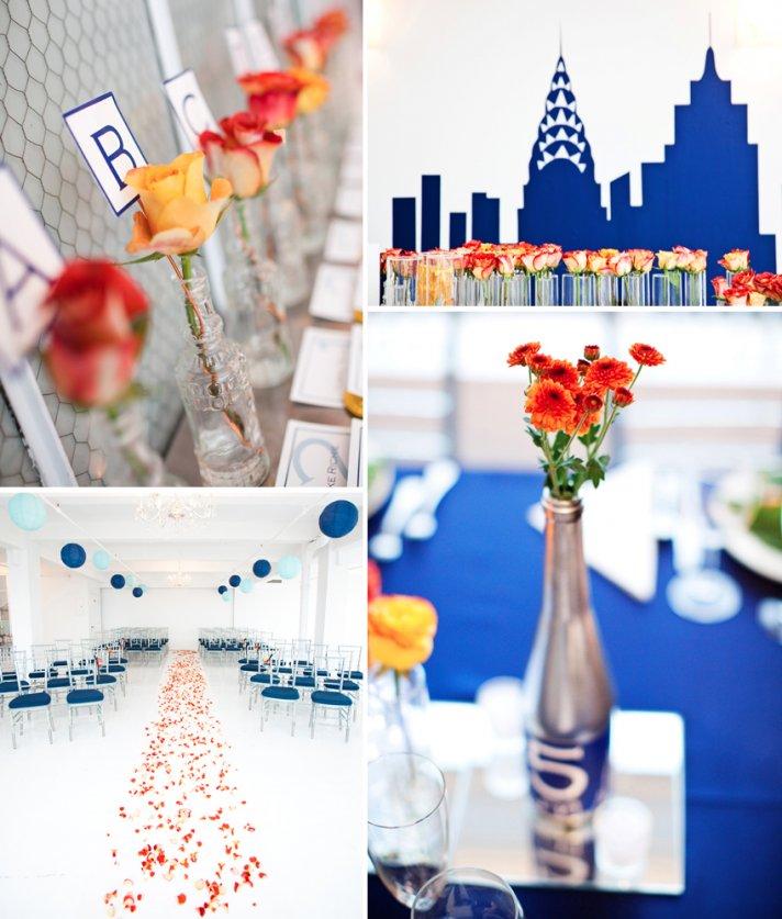 Cobalt blue orange yellow wedding flowers and decor