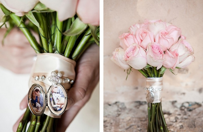 Destination wedding in the Dominican Republic rose bouquet with meaningful charms