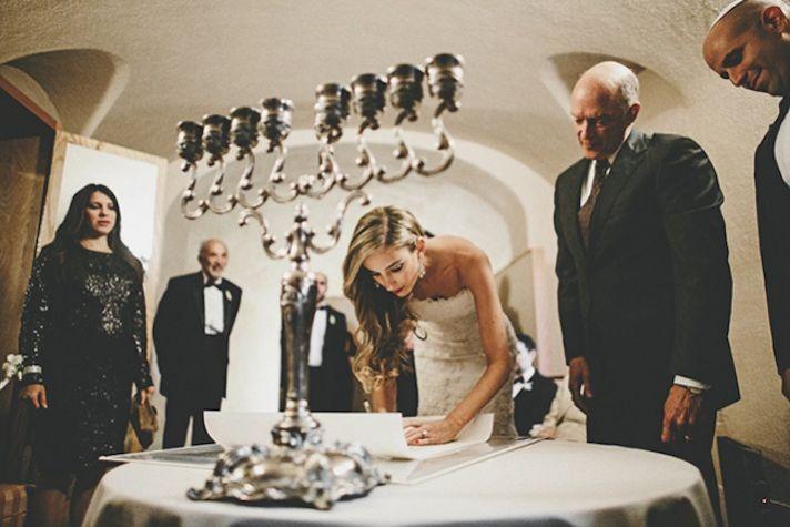 Vintage glam bride signs wedding ketubah