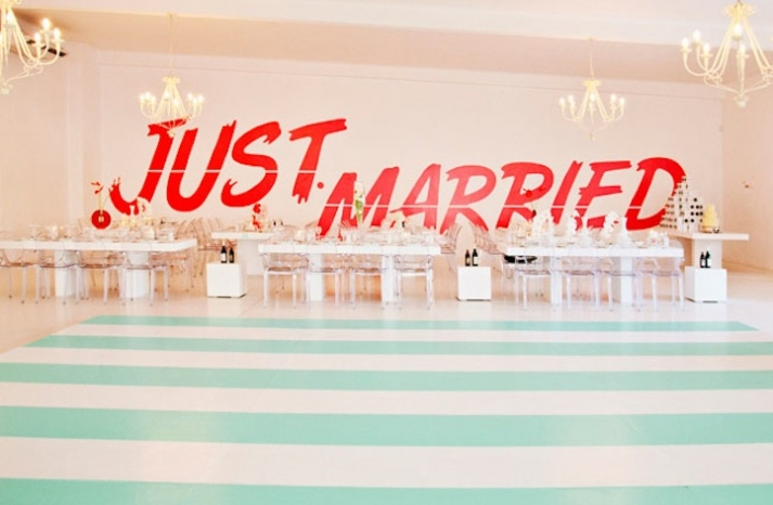 Just Married wedding reception decal for comic loving couples