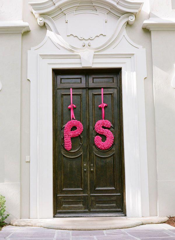 Hot Pink floral wedding initials