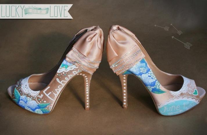 Peach satin wedding shoes with blue and aqua details