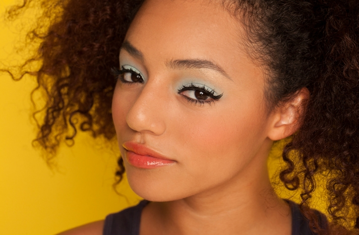 Pale aqua eyes with coral lips wedding makeup
