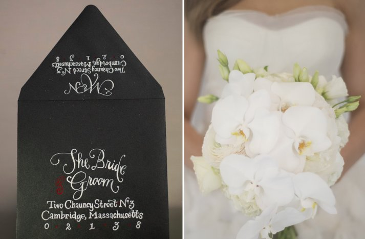 Black tie wedding inspiration white orchid bouquet calligraphied invites