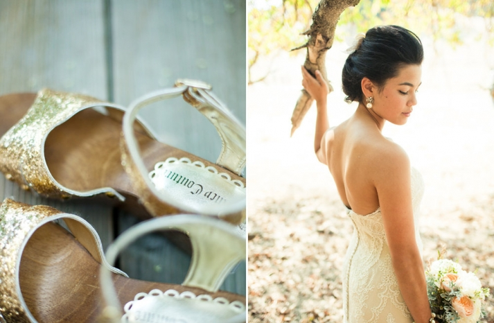 Amazing wedding photography by Shannen Natasha sparkly gold bridal heels