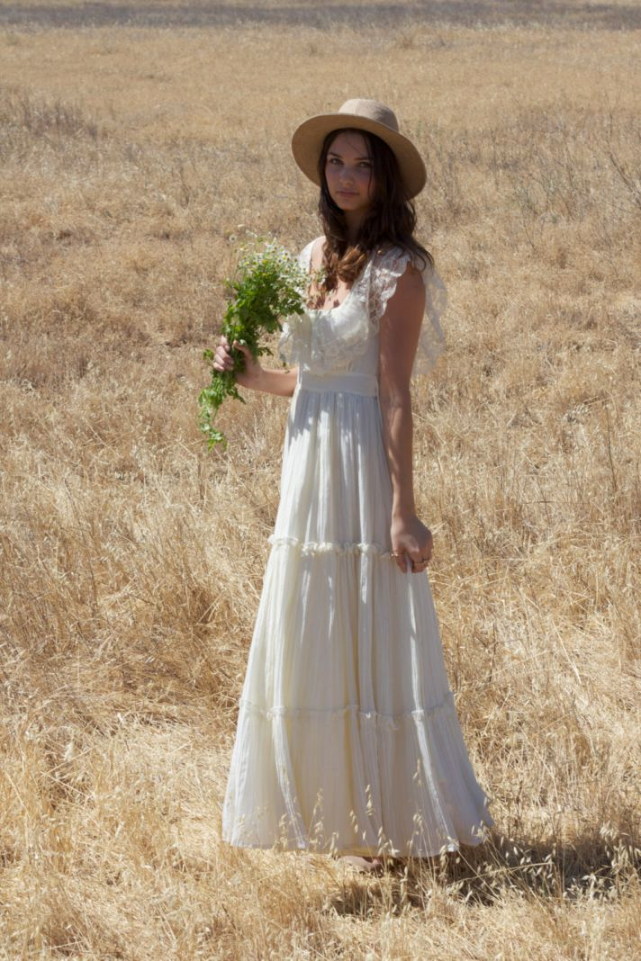 1970s vintage bohemian wedding dress with lace neckline