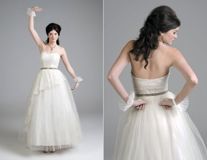 Vintage tulle and ivory lace a line wedding dress