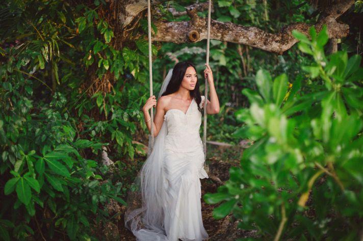 Destination bride wears Ribboned Silk BHLDN wedding dress