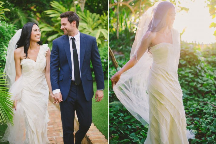 Destination bride wears Ribboned Silk BHLDN wedding dress