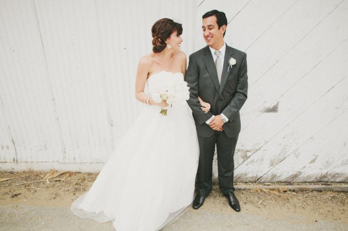 real bride wears white by vera wang ball gown wedding dress