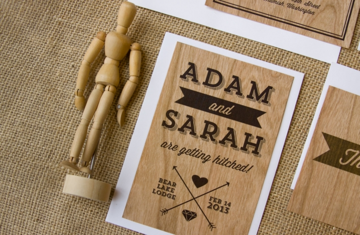cherry wood wedding invitation set