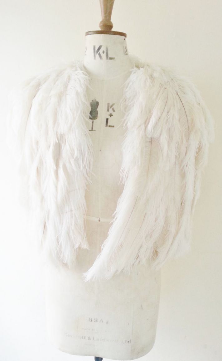 ivory feather wedding cape Gloria