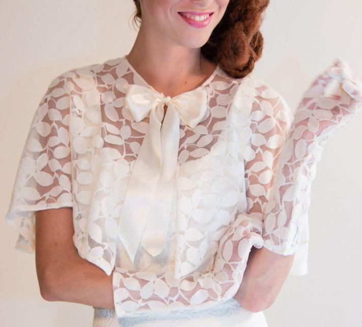 cotton lace bridal cape with leaf design