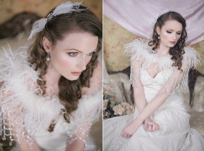 beaded fringe and feather wedding cape