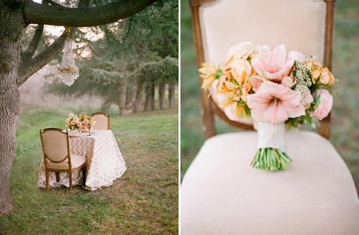 Pale pink and orange romantic wedding bouquet