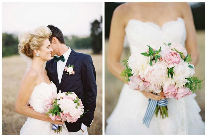 ivory and pale pink peony wedding bouquet with striped ribbon