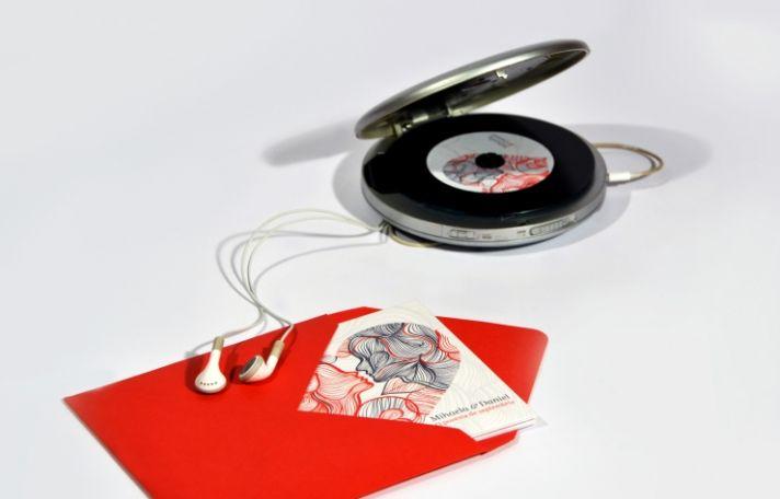 Interactive red black ecru wedding invitations