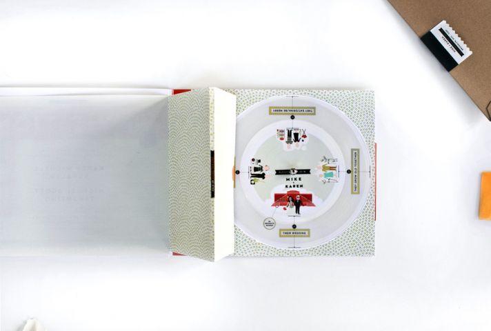 Amazing wedding invitations paper record player