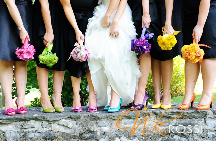 bridesmaids wear mix and match shoes in bright colors