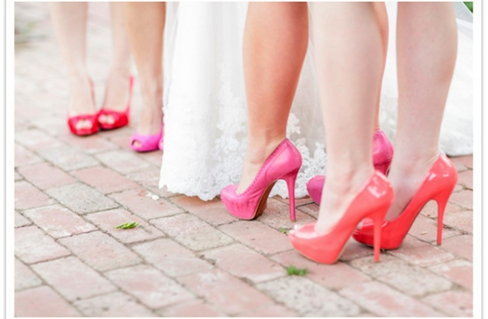 bright pink and coral bridesmaid shoes