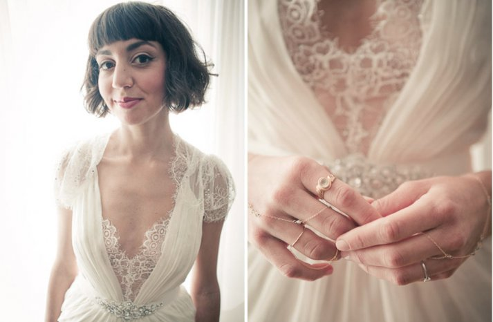 funky vintage bride wears bohemian hand jewelry