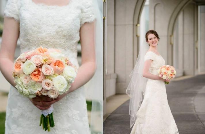 peach and cream fall wedding bouquet