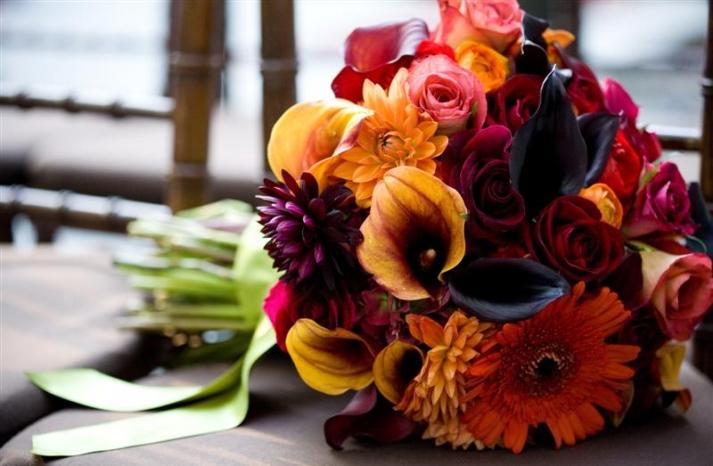 burgundy and marigold fall wedding bouquet