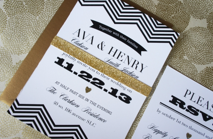 modern gold black and white wedding invitations