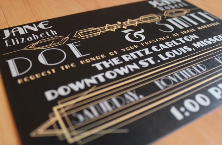 art deco inspired wedding invitation in black gold and white