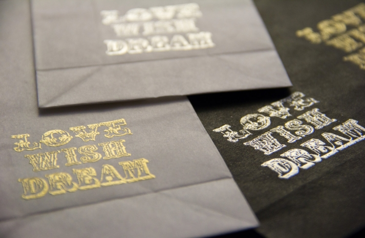 gold stamped wedding favor bags