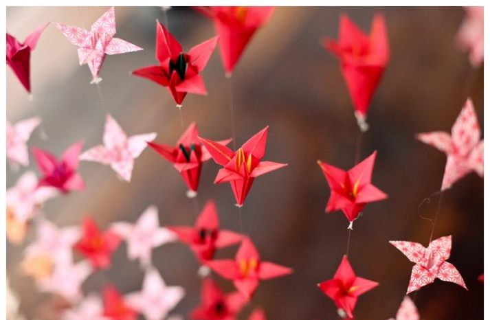 red origami wedding backdrop
