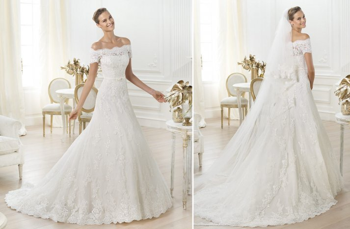 off the shoulder lace wedding dress by Pronovias