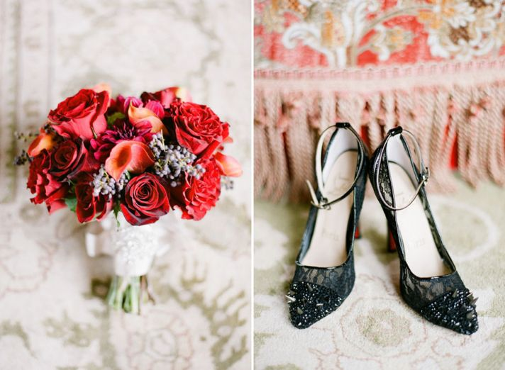 Real wedding in Simi Valley California black Louboutin bridal heels and red bouquet