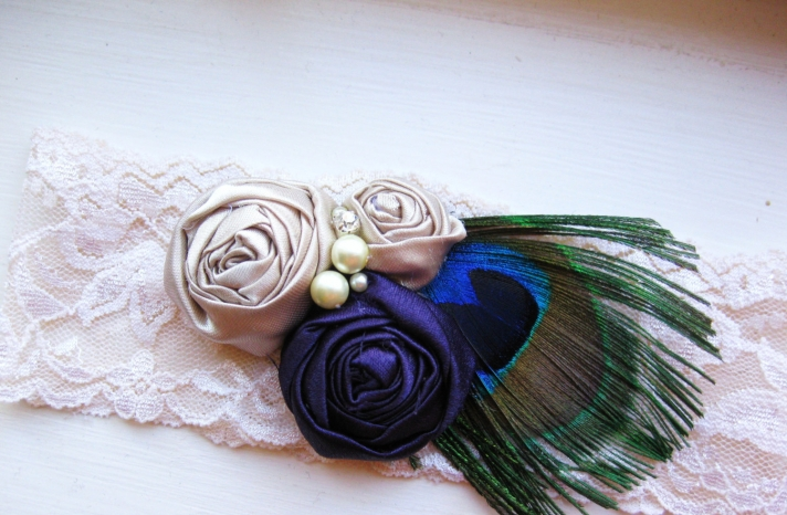 champagne lace wedding garter with peacock feathers