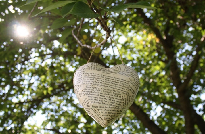 hanging heart wedding decor of book pages