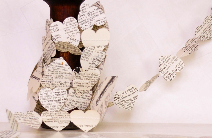 hearts wedding garland made from recycled book pages