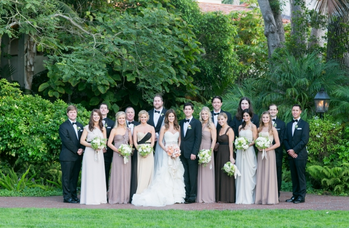 Romantic timeless wedding at the Four Seasons modern mix and match bridesmaids