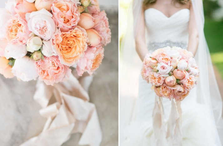 Peach and blush wedding bouquet with champagne ribbon tie