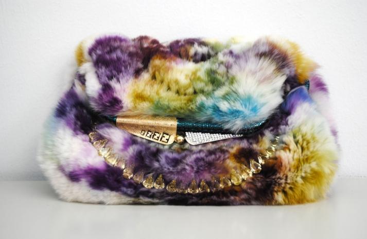 colorful fur fendi clutch for daring brides