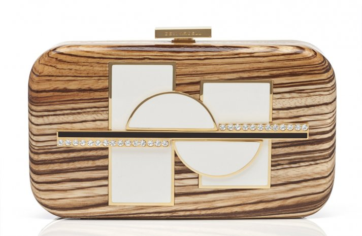 wooden bridal clutch with gold and pearl accents