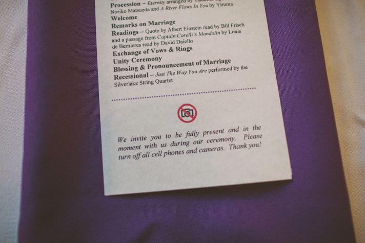 wedding program with no cameras request
