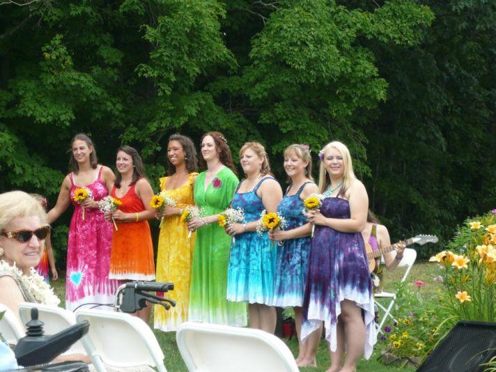 tye dye bridesmaids for outdoor bohemian wedding